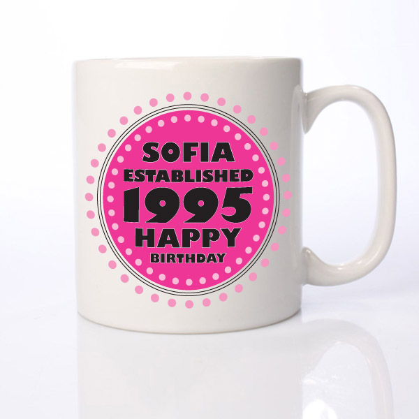 Established in... Personalised 18th Birthday Mug Pink