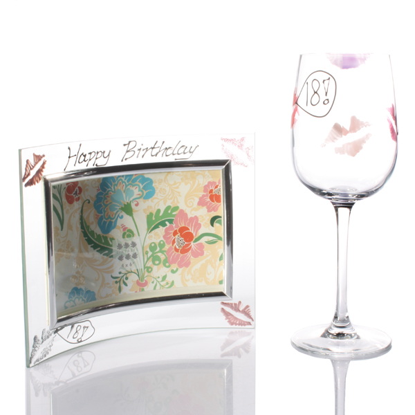 18th Birthday Lips Wine Glass and Frame Gift Set - 18th Birthday Gifts