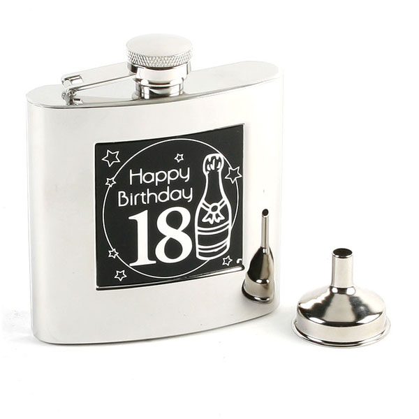 18th Birthday Hip Flask & Funnel - 18th Birthday Gifts