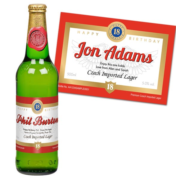 18th Birthday Personalised Bottle of Lager - 18th Birthday Gifts