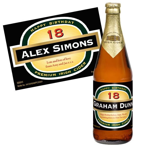 18th Birthday Personalised Bottle of Cider - 18th Birthday Gifts