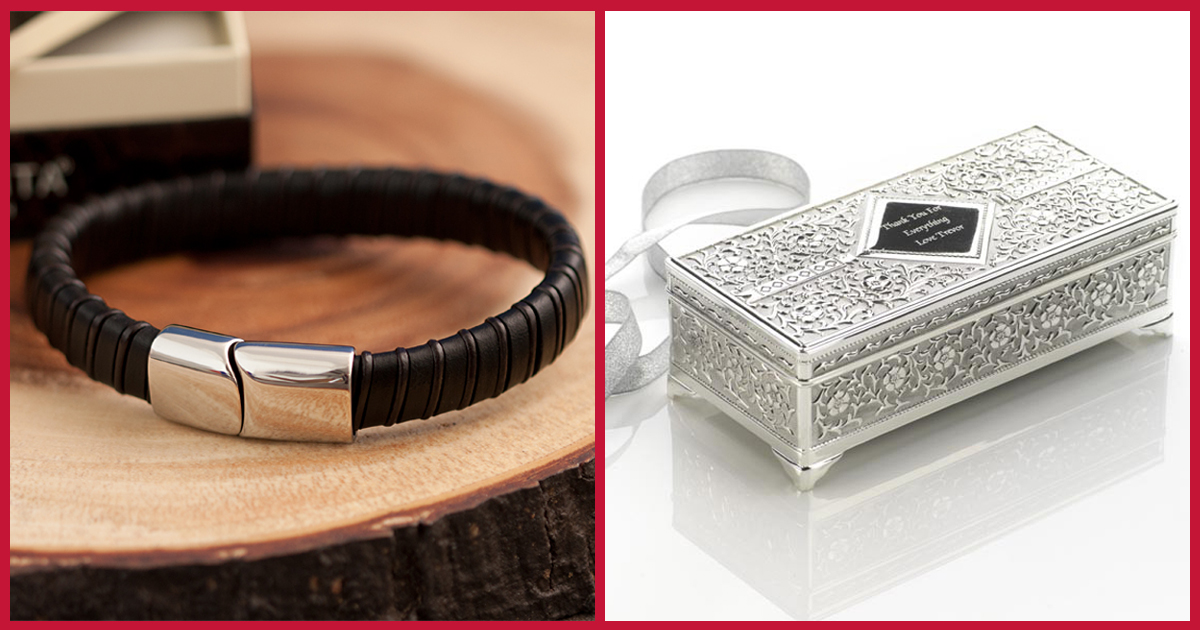 Men's leather bracelet and antique jewellery box