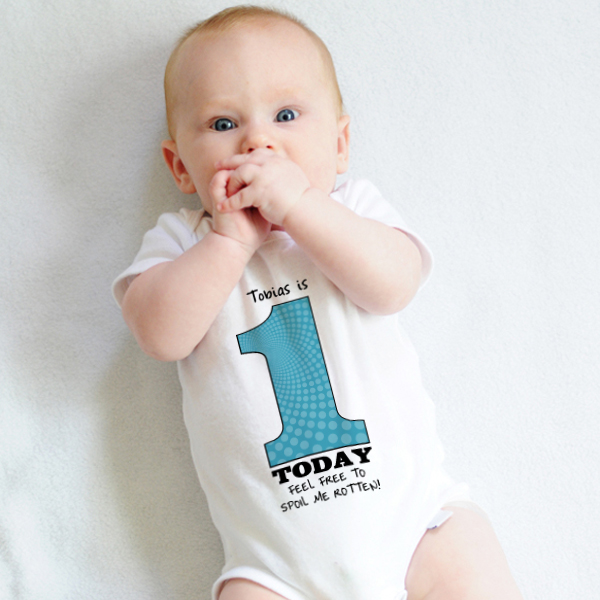 1 Today - Personalised 1st Birthday Boy Baby Grow - 1st Birthday Gifts