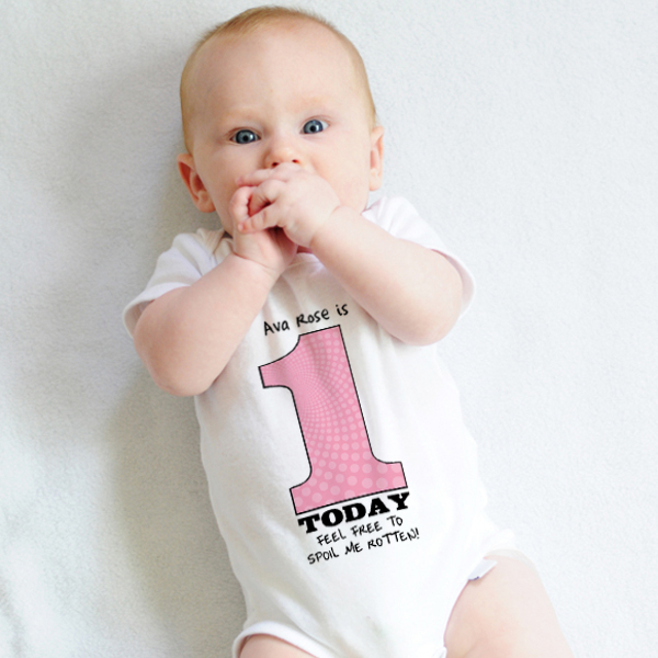 1 Today - Personalised 1st Birthday Girl Baby Grow - 1st Birthday Gifts