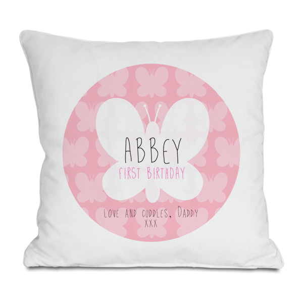 Personalised First Birthday Butterfly Cushion - 1st Birthday Gifts