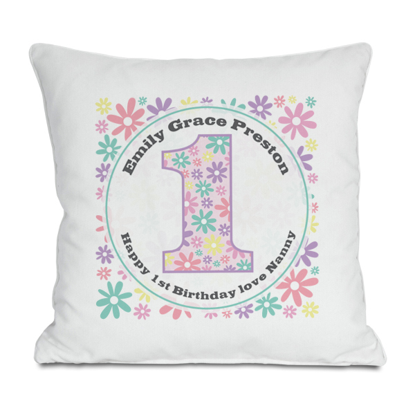 Personalised Girls 1st Birthday Cushion - 1st Birthday Gifts