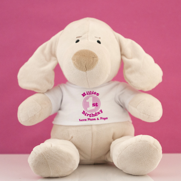 Personalised 1st Birthday Puppy Soft Toy - Girl - 1st Birthday Gifts