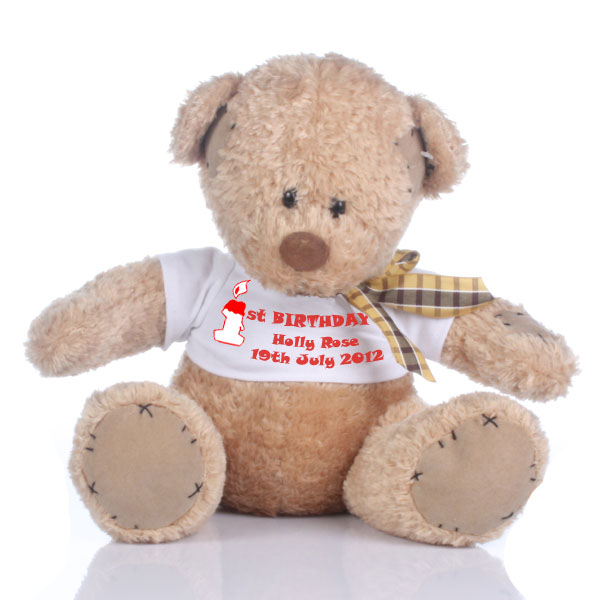 Personalised 1st Birthday Patch Bear - 1st Birthday Gifts