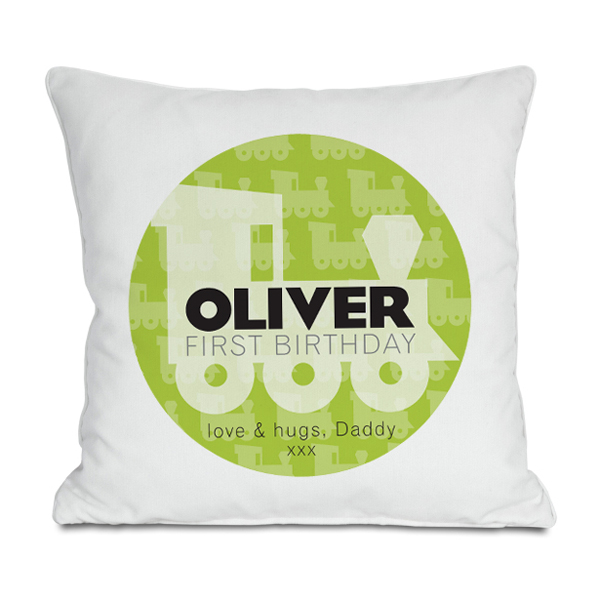 Personalised First Birthday Train Cushion - 1st Birthday Gifts