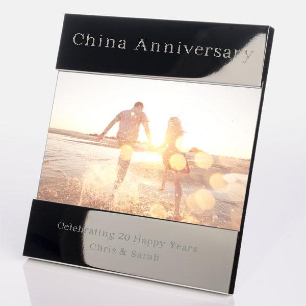Engraved 20th (China) Anniversary Photo Frame - China Gifts