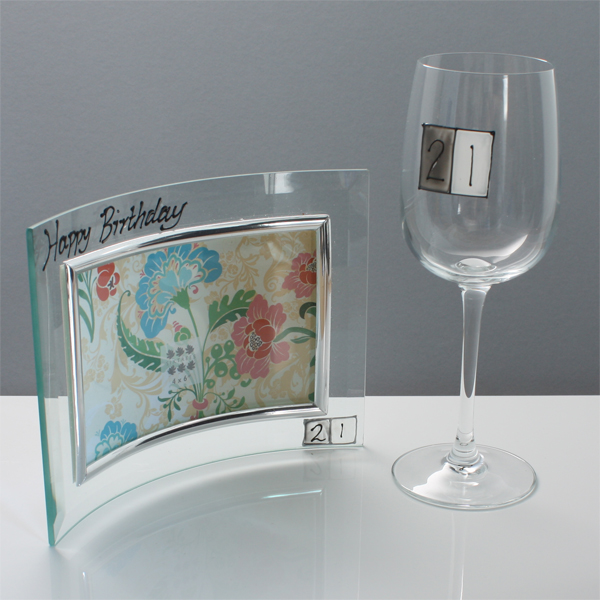21st Birthday Photo Frame And Glass Gift Set