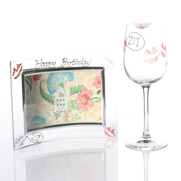 21st Birthday Lips Wine Glass And Frame Gift Set