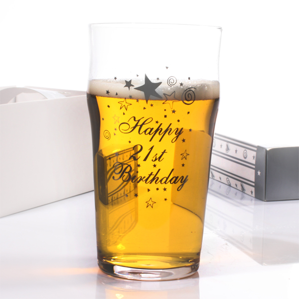 21st Birthday Pint Glass - 21st gift