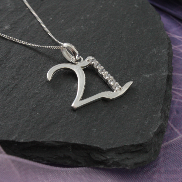 solid silver 21 necklace in personalised box