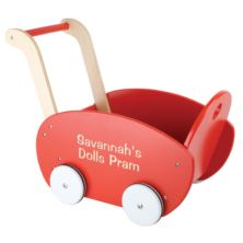 Personalised Wooden Red Doll´s Pram