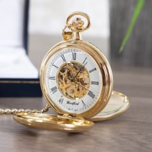 Personalised Gold Plated Skeleton Pocket Watch