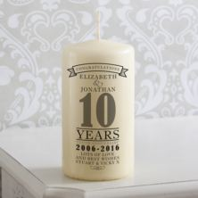 Personalised 10th Anniversary Candle