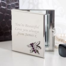 Personalised Amethyst Dragonfly Square Compact Mirror