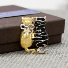 Black And Gold Cats Brooch In Personalised Box