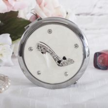 Personalised Sophia Silverplated Diamante Shoe Compact Mirror