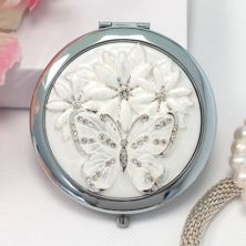 Engraved Sophia Silverplated Crystal And Butterfly Compact Mirror