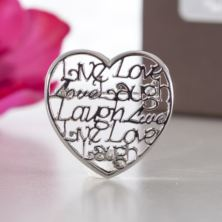 Live Laugh Love Script Heart Brooch In Personalised Box