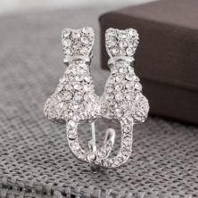 Crystal Set Cats Brooch In Personalised Box