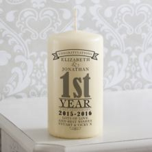 Personalised 1st Anniversary Candle