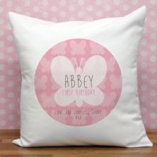 Personalised First Birthday Butterfly Cushion