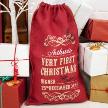 Personalised Embroidered Very First Christmas Red Hessian Sack