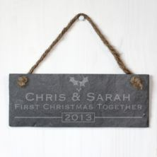 Personalised 1st Christmas Together Slate Plaque