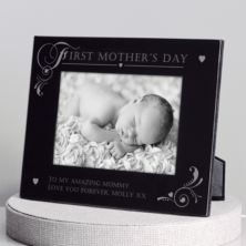 Personalised First Mother's Day Black Glass Photo Frame
