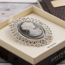 Crystal Set Cameo Brooch in Personalised Gift Box