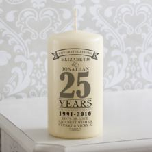 Personalised 25th Anniversary Candle
