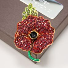 Red Crystal Gold Plated Poppy Brooch in Personalised Gift Box