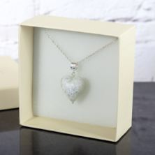 Murano Glass White Glitter Heart Pendant In Personalised Box