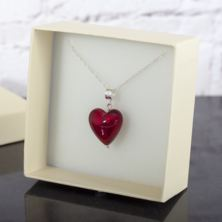 Red Murano Glass Enchanted Hearts Pendant In Personalised Box