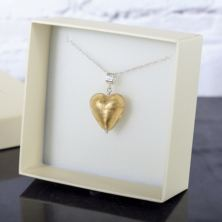 Gold Murano Glass Heart Pendant In Personalised Box