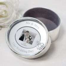 Mr & Mrs Silver Plated Oval Trinket Box