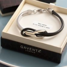 Black Leather and Stainless Steel Mens Bracelet in Personalised Gift Box