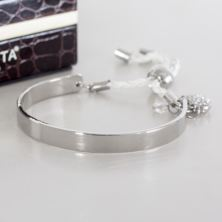 White Cord Bangle With Crystal Heart In Personalised Box