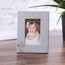 Personalised Photo Frame With Crystal Cross Embellishment