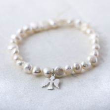Freshwater Pearl Bracelet With Sterling Silver Angel Charm