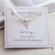 Stretch Pearl Bracelet With Sterling Silver Cross Charm