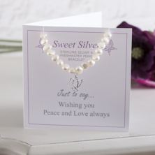 Sterling Silver Dove And Freshwater Pearl Bracelet With Gift Card