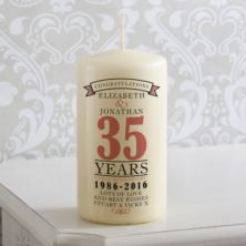 Personalised 35th Anniversary Candle