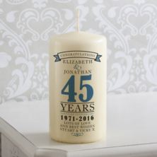 Personalised 45th Anniversary Candle