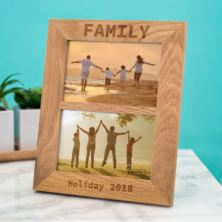 Solid Oak Personalised Double Photo Frame