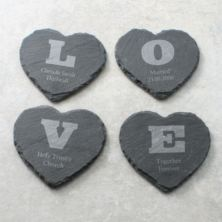 Personalised set of 4 Love Heart Slate Coasters