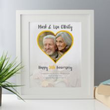 Personalised Golden Wedding Anniversary Framed Photo Print